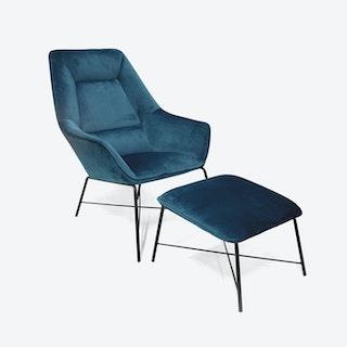 Blue Adele Armchair w/ Footstool