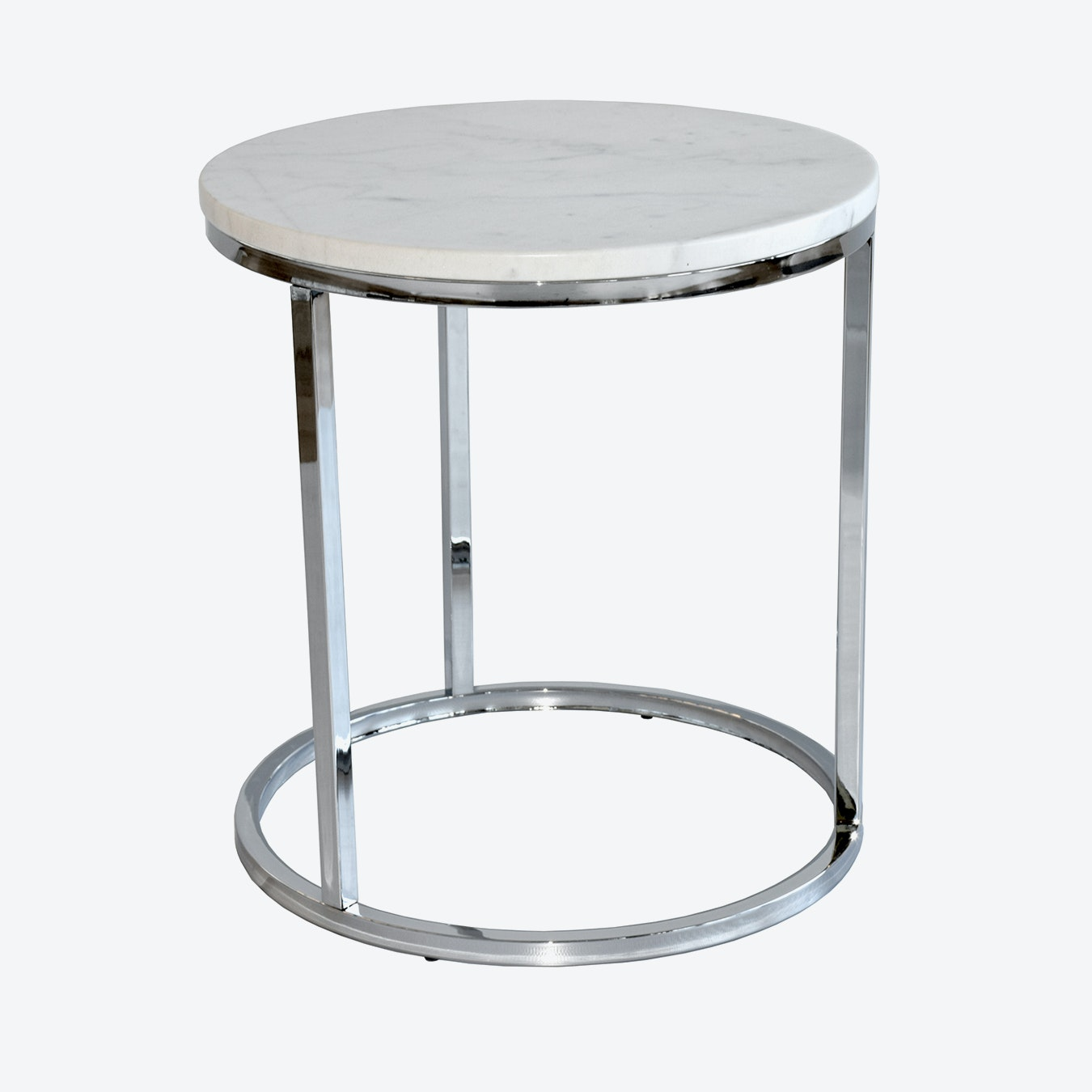 Marble Side Table Round Chrome