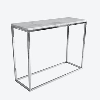 Marble Console Table - White/Chrome