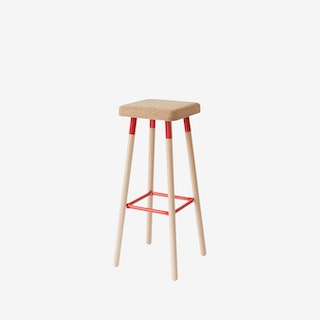 MARCO Bar Stool - Cork/Red