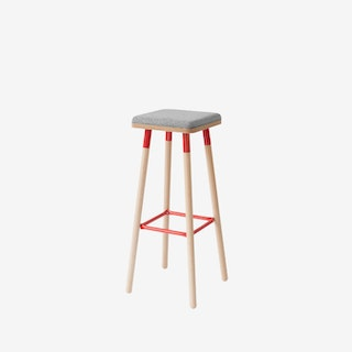 MARCO Bar Stool - Grey/Red