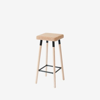 Low MARCO Bar Stool - Cork/Black