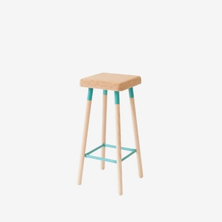 Low MARCO Bar Stool - Cork/Turquoise