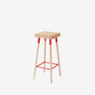 Low MARCO Bar Stool - Cork/Red