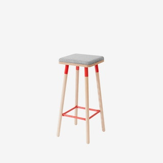 Low MARCO Bar Stool - Grey/Red