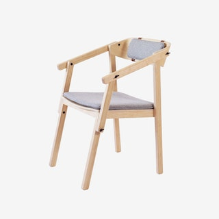 ATELIER Arm Chair - Oak Varnished w/ Wool Upholstery
