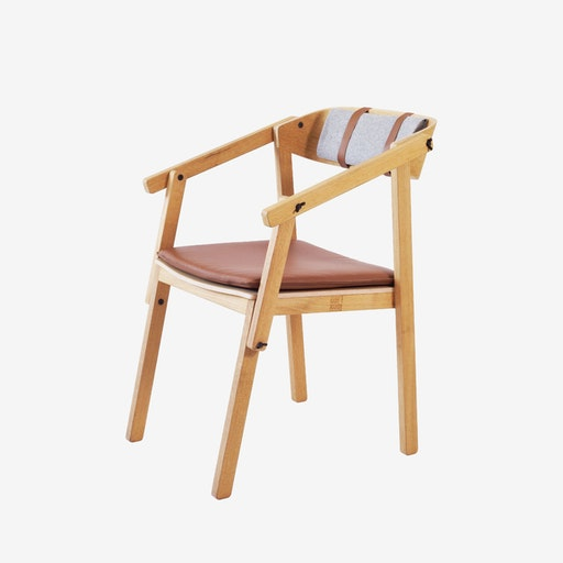 ATELIER Arm Chair - Oak Varnished w/ Wool Upholstery & Leather