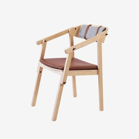 ATELIER Arm Chair - Ash Varnished w/ Wool Upholstery & Leather