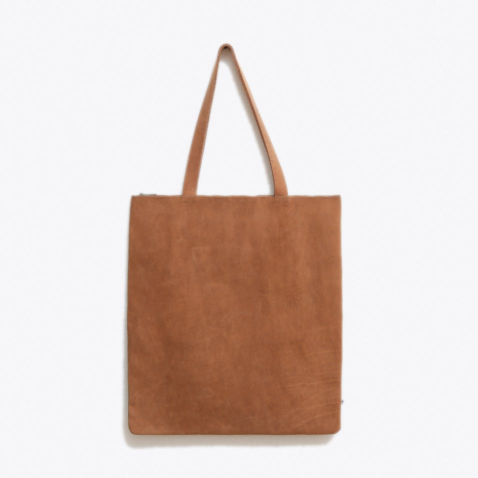 Leather Bag with Shoulder Strap in Brown