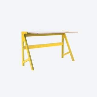 VOLT Desk in Canary Yellow w/ Snow White Top