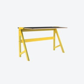 VOLT Desk in Canary Yellow w/ Inky Black Top