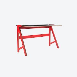VOLT Desk in Vulcan Red w/ Inky Black Top