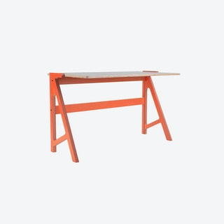 VOLT Desk in Foxy Orange w/ Dusty Grey Top