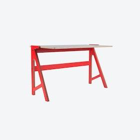 VOLT Desk in Vulcan Red w/ Dusty Grey Top