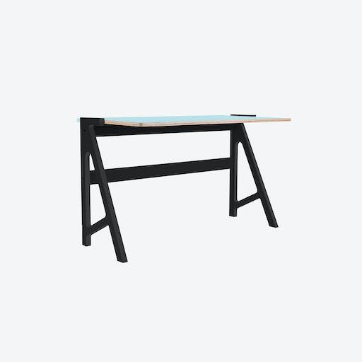 VOLT Desk in Inky Black w/ Butterfly Blue Top