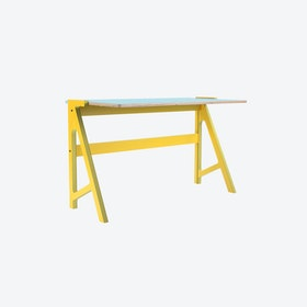 VOLT Desk in Canary Yellow w/ Butterfly Blue Top