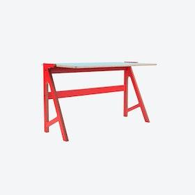 VOLT Desk in Vulcan Red w/ Butterfly Blue Top
