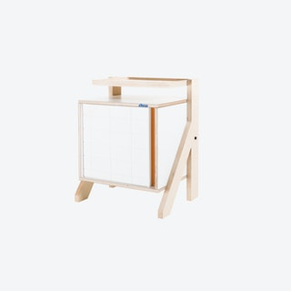 FRAME Night Table in Snow White w/ Transparent Orange Screen