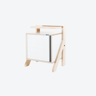 FRAME Night Table in Snow White w/ Transparent Grey Screen