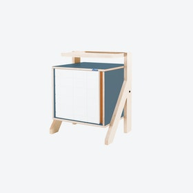 FRAME Night Table in Stone Blue Grey w/ Transparent Orange Screen