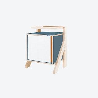 FRAME Night Table in Stone Blue Grey w/ Transparent Orange Screen