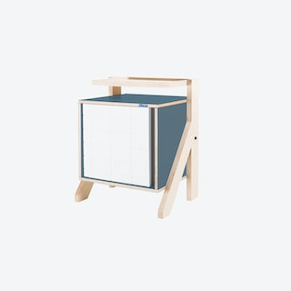 FRAME Night Table in Stone Blue Grey w/ Transparent Grey Screen
