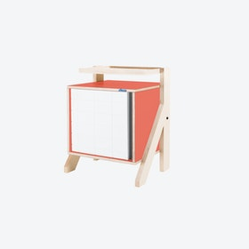FRAME Night Table in Foxy Orange w/ Transparent Grey Screen