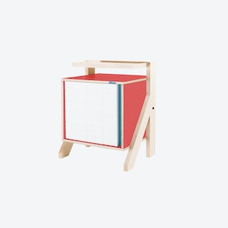 FRAME Night Table in Cherry Red w/ Transparent Blue Screen