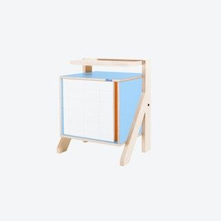 FRAME Night Table in Butterfly Blue w/ Transparent Orange Screen