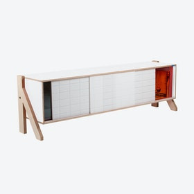 FRAME Sideboard 01 Mid in Snow White w/ Transparent Orange Screen