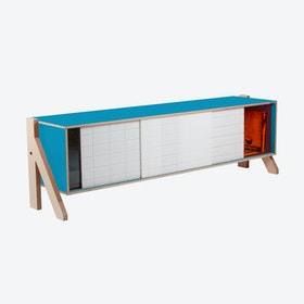 FRAME Sideboard 01 Mid in Iris Blue w/ Transparent Orange Screen