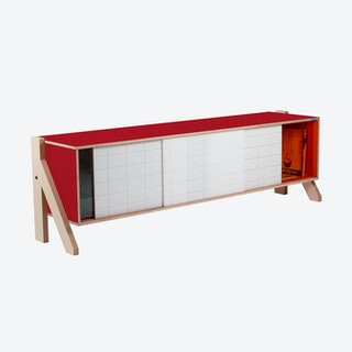 FRAME Sideboard 01 Mid in Cherry Red w/ Transparent Orange Screen