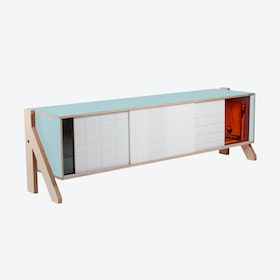 FRAME Sideboard 01 Mid in Butterfly Blue w/ Transparent Orange Screen