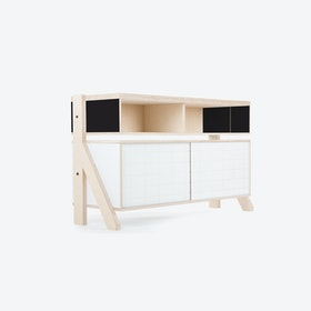 FRAME Sideboard 02 Small in Inky Black w/ Transparent Blue Screen
