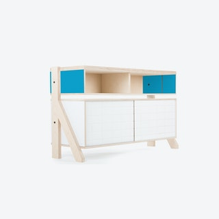 FRAME Sideboard 02 Small in Iris Blue w/ Transparent Blue Screen