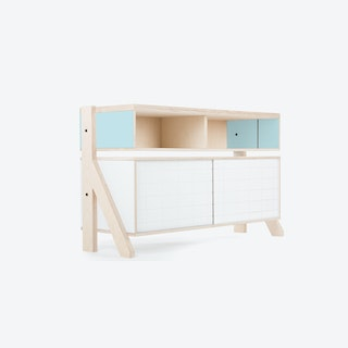 FRAME Sideboard 02 Small in Butterfly Blue w/ Transparent Blue Screen