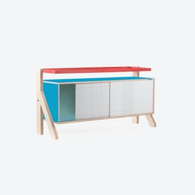 FRAME Sideboard 03 Small in Iris Blue w/ Transparent Blue Screen