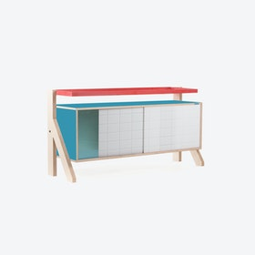FRAME Sideboard 03 Small in Stone Blue Grey w/ Transparent Blue Screen