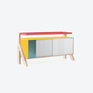 FRAME Sideboard 03 Small in Canary Yellow w/ Transparent Blue Screen