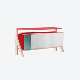 FRAME Sideboard 03 Small in Cherry Red w/ Transparent Blue Screen
