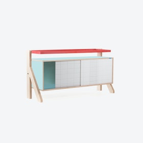 FRAME Sideboard 03 Small in Butterfly Blue w/ Transparent Blue Screen
