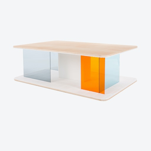 GRID Coffee Table in Ash w/ Transparent Blue & Orange Screens
