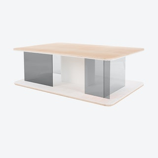 GRID Coffee Table in Ash w/ Transparent Grey Screens