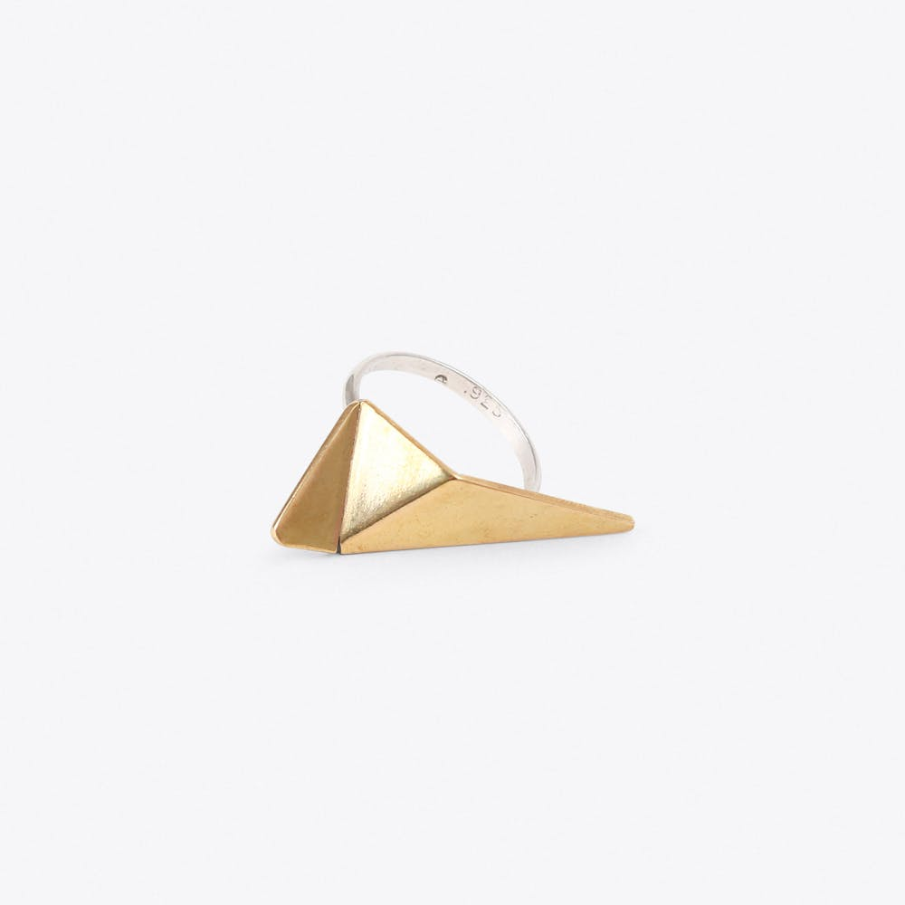 Origami Ring in Silver & Brass