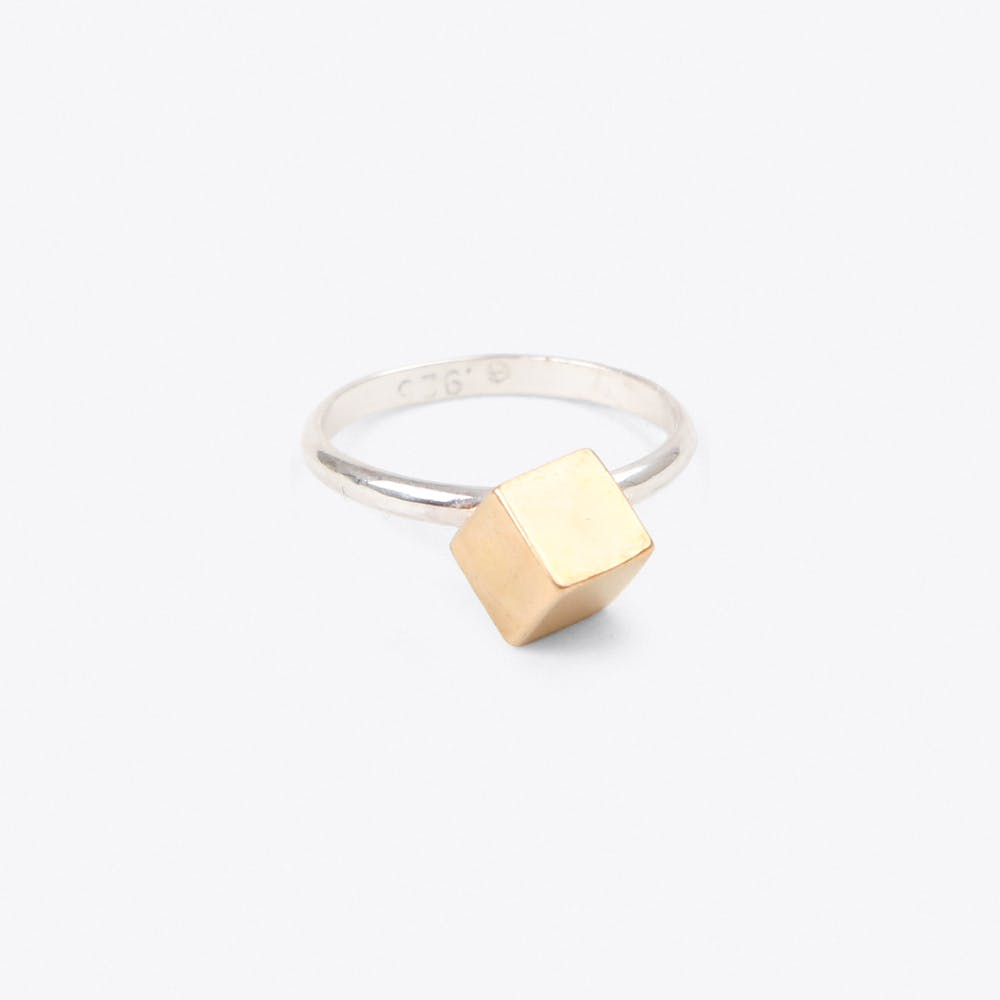 Cube Ring in Silver & Brass