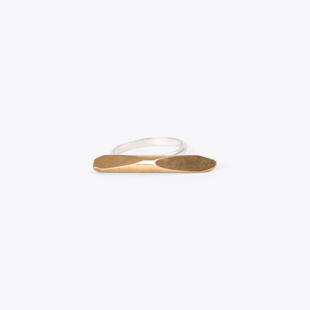 Faceted Bar Ring in Silver & Brass