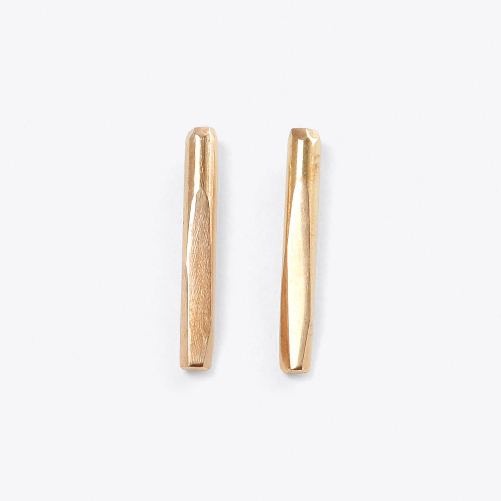 Faceted Bar Earrings in Silver & Brass