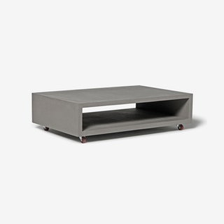 Concrete Monobloc Coffee Table w/ Wheels