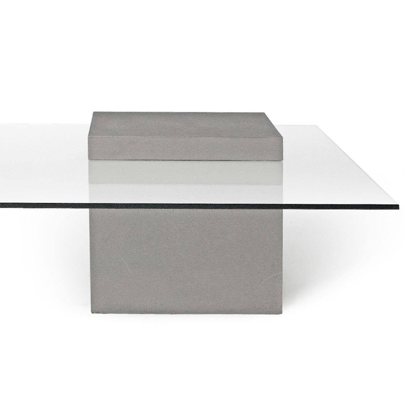 Concrete Verveine Coffee Table W Glass Top
