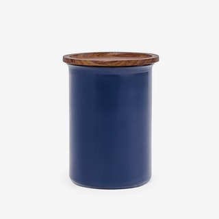 0.75L Ayasa Coloured Jar w/ Wooden Lid - Blue